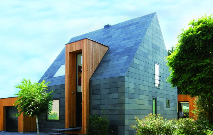 Symmetrische Deckung auf Wand und Dach : Moderne Häuser von Rathscheck Schiefer und Dach-Systeme ZN der Wilh. Werhahn KG Neuss
