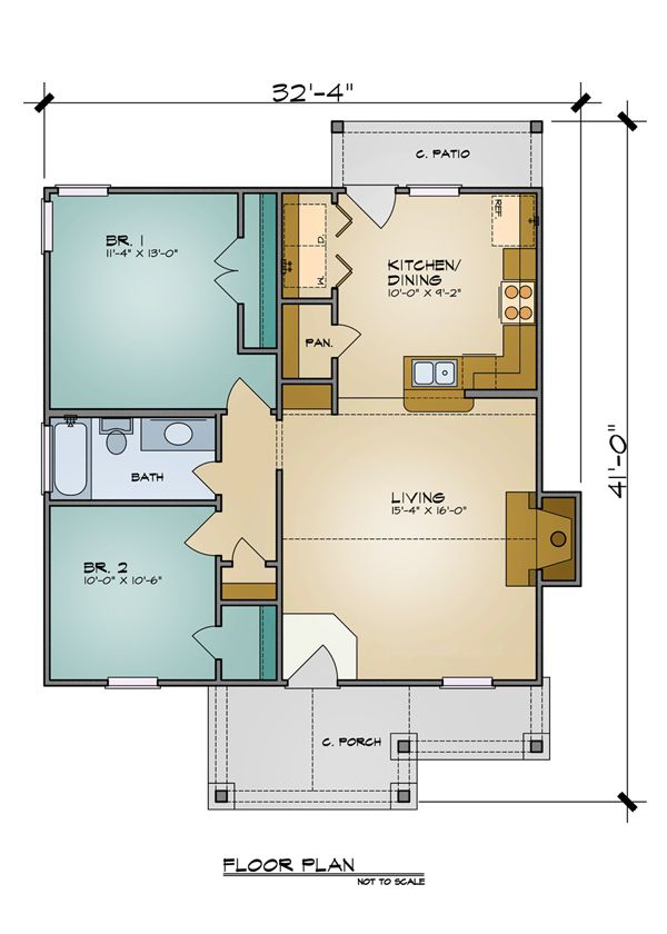The Aiden Plan 7105 - 2 Bedrooms and 1 Bath | The House Designers  Modified greatly - this could work.