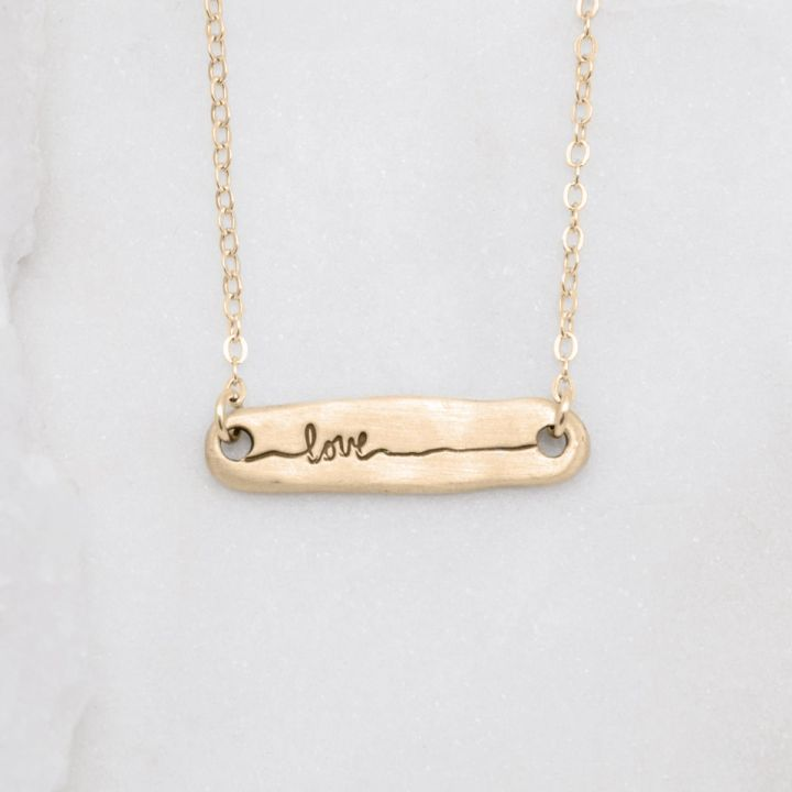 Written With Love Necklace 10k Gold Necklaces With Meaning Love Necklace Silver Earrings Etsy