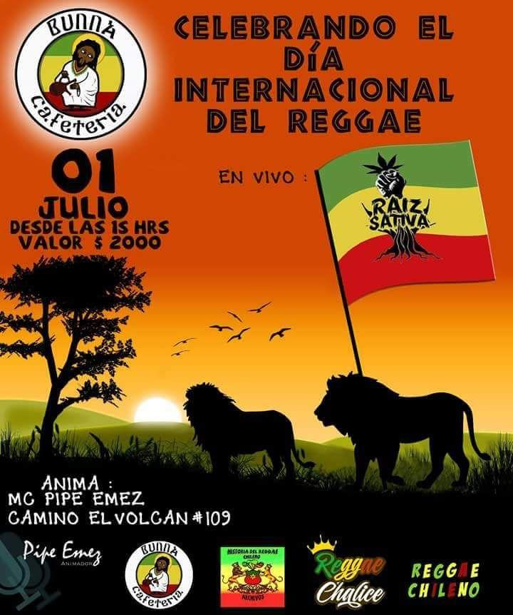 A tod@s los sativ@s lo esperamos para disfrutar y celebrar el día internacional del reggae en la cafetería Bunna.
