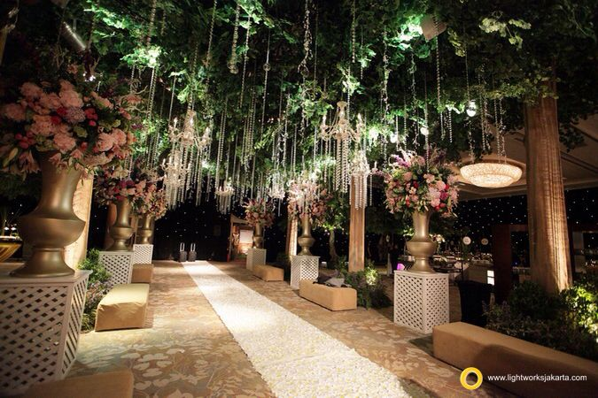The beauty of wedding decoration and lighting. Decorate by Lotus Design and lighting by Lightworks for Andry and Abigail's wedding at Shangri-La Hotel, Jakarta  www.lightworksjakarta.com