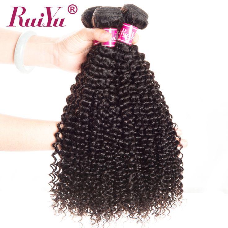 "RUIYU Peruvian Hair Kinky Curly Weave Human Hair Bundles Non Remy Afro Hair Extensions Natural Color Hair Weaving 10""-28"" 1pc"