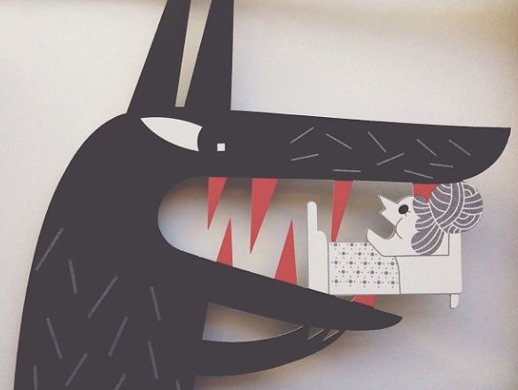 Detail of cut out book of Little Red Riding Hood. Illustrated by Clémentine Sourdais.