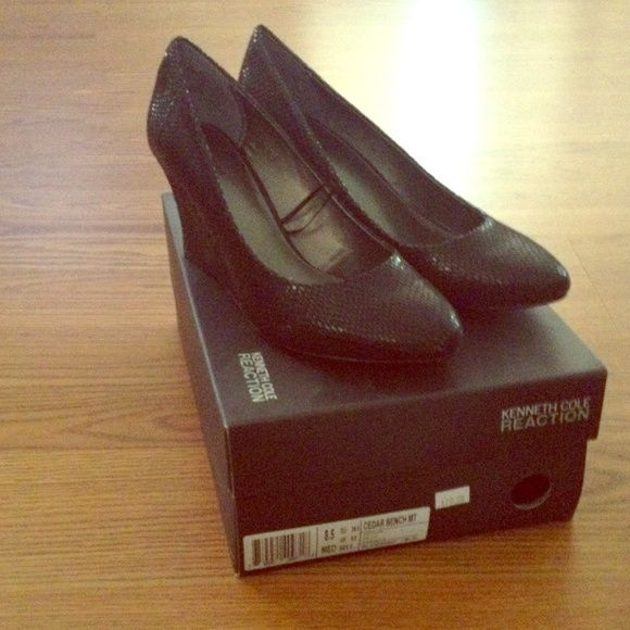 Black wedge dress shoe Kenneth Cole Reaction black closed toe wedges - never worn Kenneth Cole Reaction Shoes Wedges