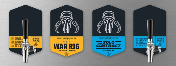 Beer tap badge designs by @Zendoke - Part of the branding system for Bounty Hunter Brewing, a Western Sydney based operation firing out craft beers with powerful flavours that draw inspiration from their favourite genres of cinema, gaming, comics and heavy metal.
