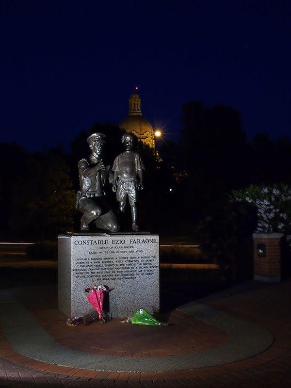 Statue of Constable Ezio Faraone in Edmonton, Alberta.