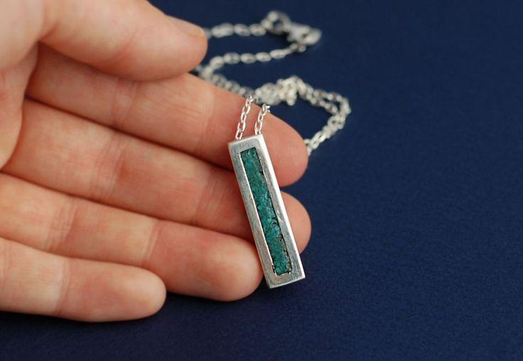 Minimalist - Colier cu pandantiv argint 925, turcoaz