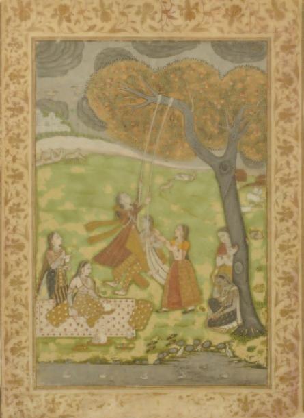 Jeune femme sur une balançoire sous un arbre en compagnie de cinq autres jeunes femmes devant une étendue d'eau. Deccan, Hyderabad, fin du XVIIIe