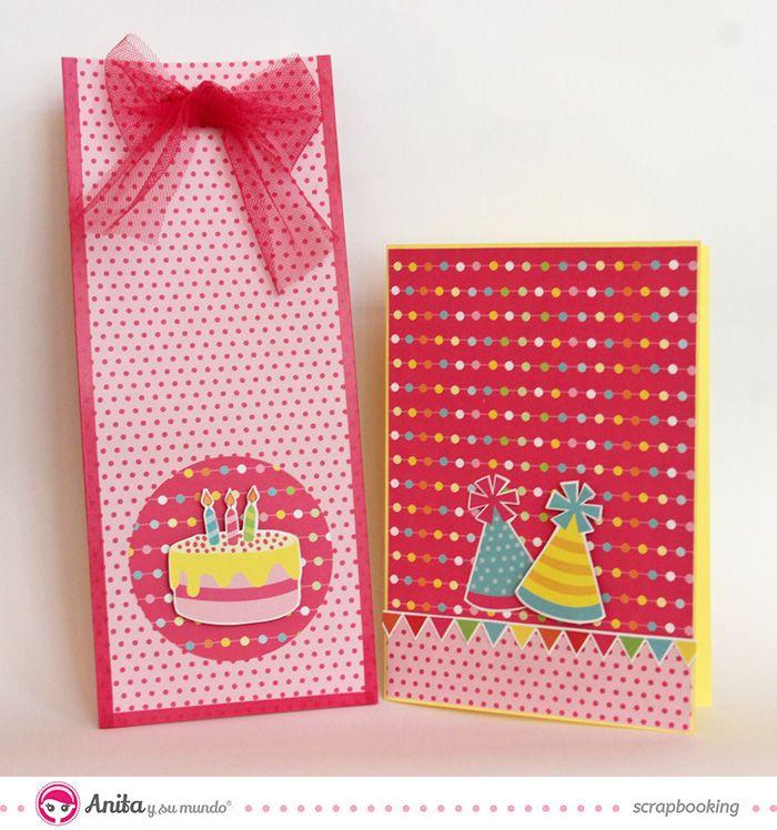 Envoltorio de regalo y tarjeta de cumpleanos