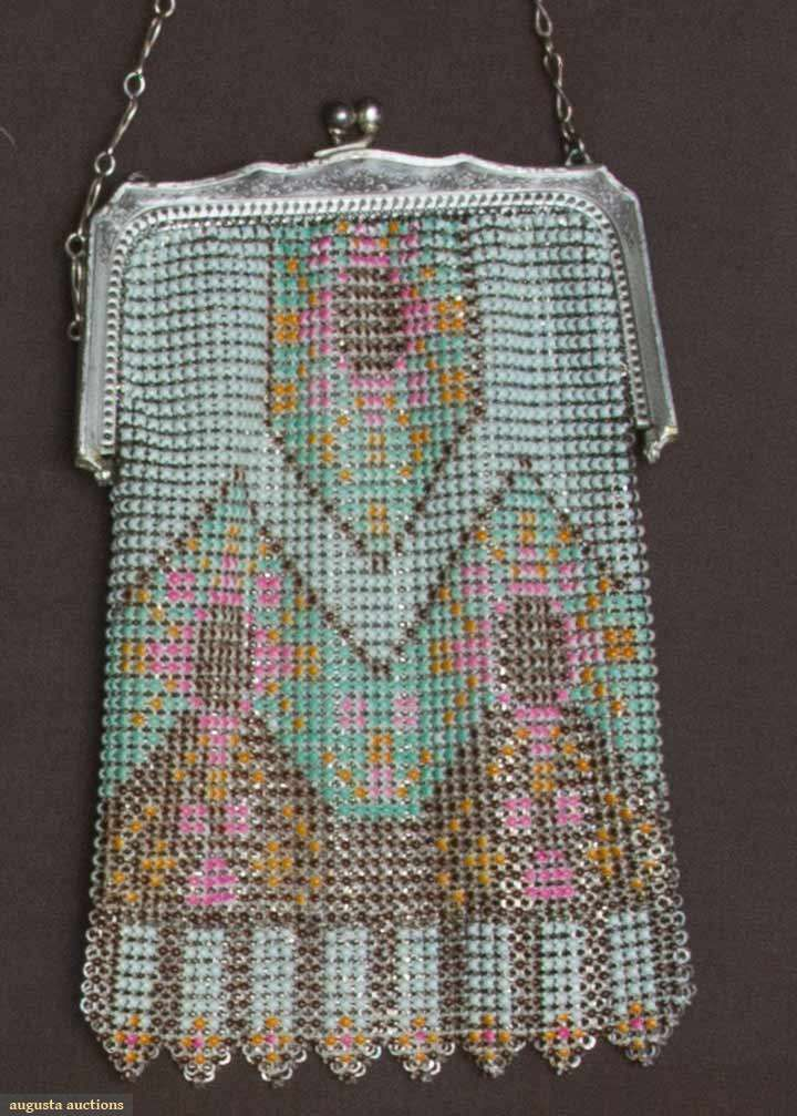 Painted Metal Mesh Purse 1920 30s 1920s Purses Pinterest Vintage And Beaded Bags