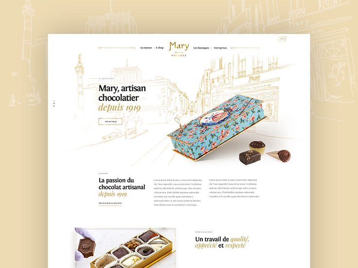 """<p>Last year, we've been approached by a famous Belgian chocolate brand to entirely redo their e-commerce platform. We're proud to say it's finally online and you can now check it on <a href=""""http://www.mary.be"""" rel=""""noreferrer"""">www.mary.be</a>.</p>  <p>Featuring some custom-made illustrations, photoshootings and 2D canvas animations.</p>"""