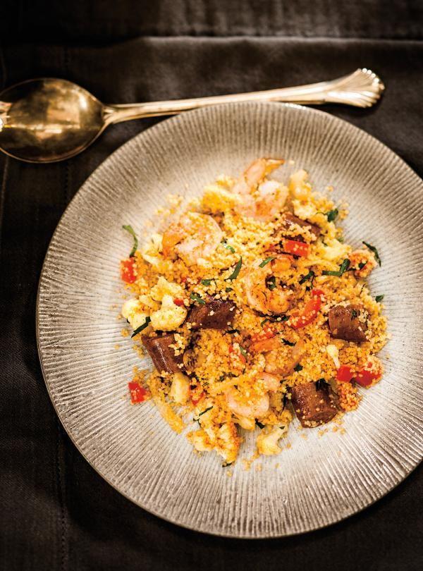 Recette de Ricardo de couscous aux crevettes et aux merguez