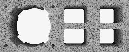 Komin z poczwórną wentylacją Wymiar zewnętrzny: 36x84 cm Średnica wkładu (cm): 16 (waga 272 kg/mb) 18 (waga 274 kg/mb) 20 (waga 276 kg/mb) Wymiar otworu wentylacyjnego: 4x16x12,5 cm