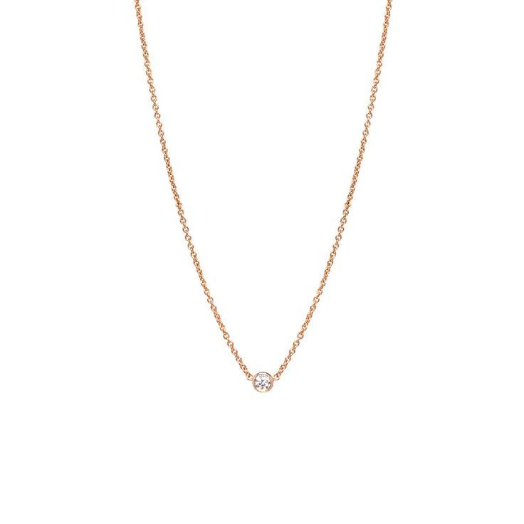 14k single diamond necklace