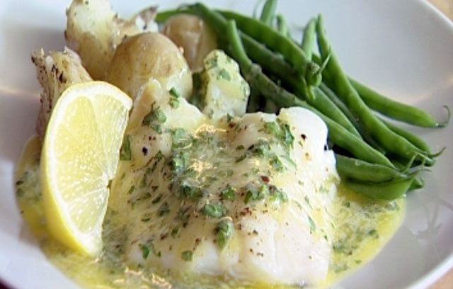 Ocado: Recipes:  Steamed Smoked Haddock, Green Beans and Crushed New Potatoes