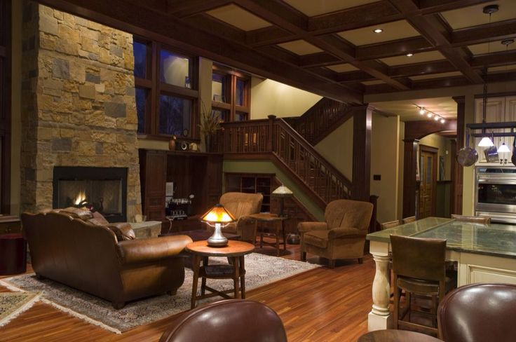 Craftsman Living Room with stone fireplace, Track lighting, Box ceiling, MS International Golden White Quartzite Pattern