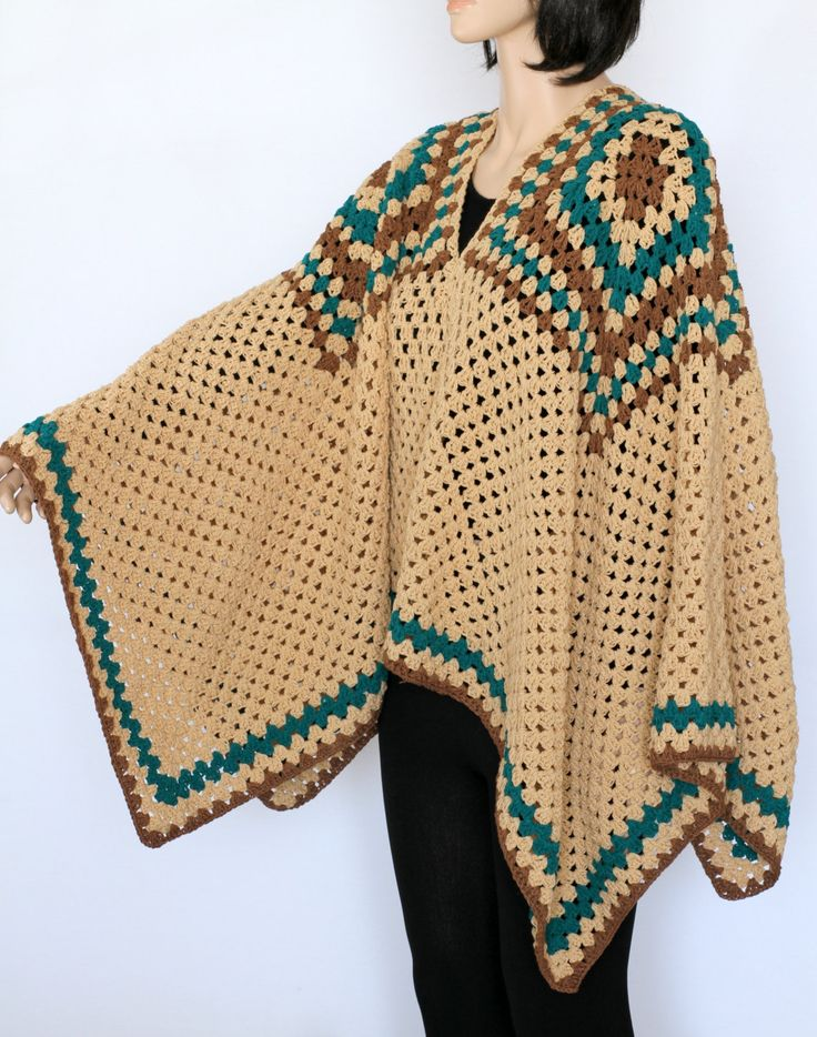Indian Poncho PDF crochet pattern Rustic Poncho Sweater Extra Large poncho…