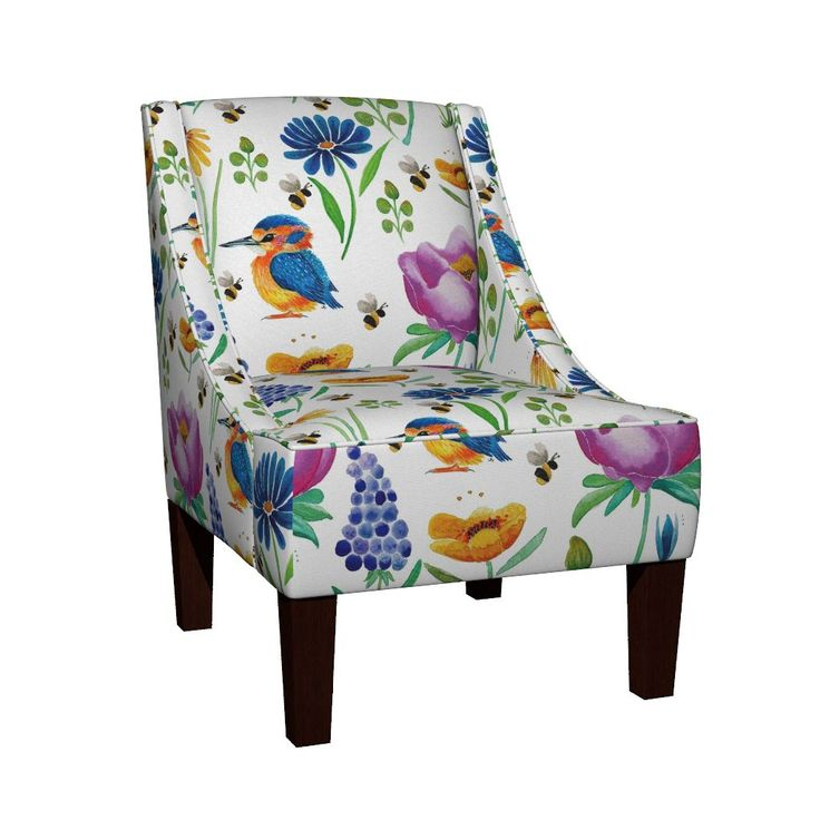Venda Sloped Arm Chair featuring Floral & Fauna Watercolor by jessmorris | Roostery Home Decor
