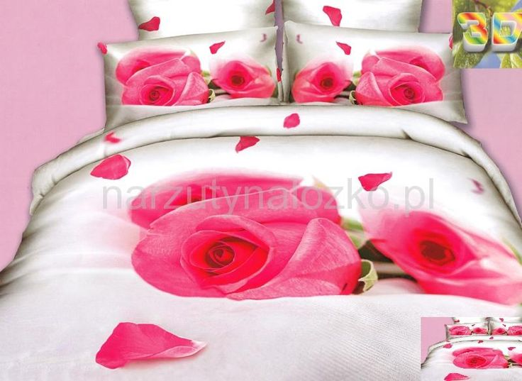 Różowe róże satynowa pościel biała do sypialni