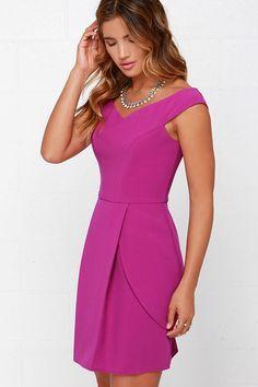 Lovely Day Magenta Off-the-Shoulder Dress at Lulus.com!