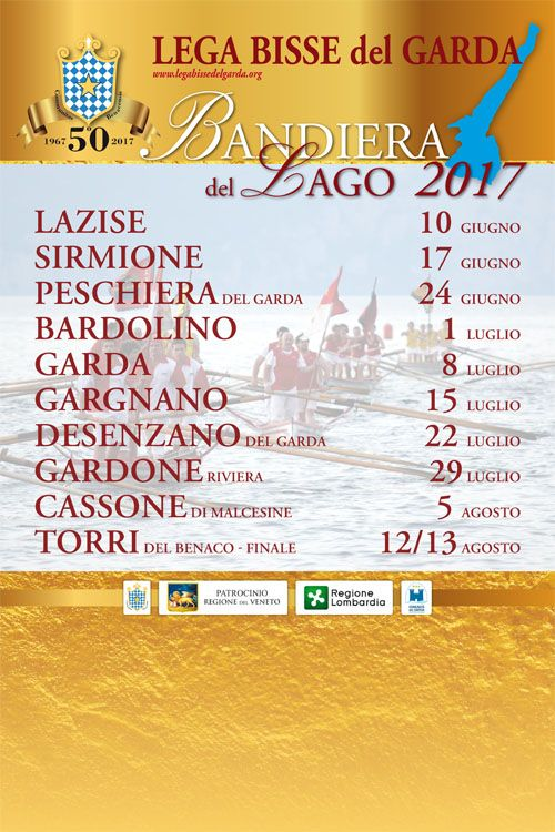 The 50th anniversary year of the famous rowing competition of the traditional Lake Garda long boats (Bisse)  The annual rowing competition of 'Palio Remiero delle Bisse'.   The traditional Lake Garda flat bottomed longboats date back to Republic of Venice, competefor the 'Bandier