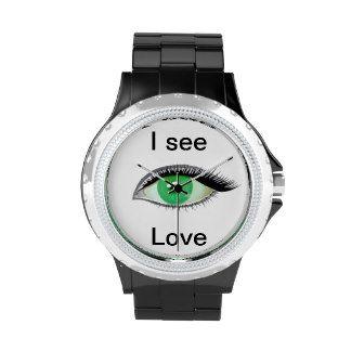 I watch and see love green eye wrist watch