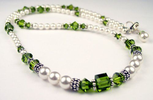 Amazon.com: August Peridot Beaded Swarovski Crystal Freshwater Pearl Birthstone Necklace in Sterling Silver - LARGE 20 In.: Damali: Jewelry