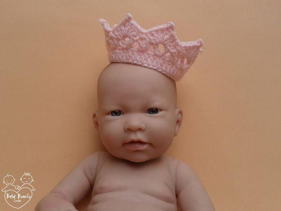 Mini coroa em Crochê Rosa Bebê