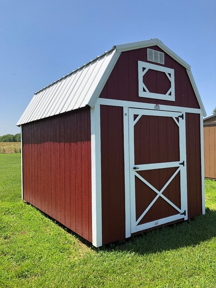 Best 8X12 Lofted Barn Red Metal Roof White Wood Trim Red 400 x 300