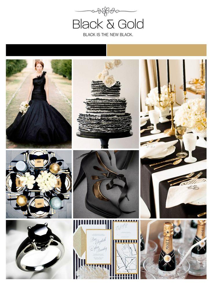 Black and gold wedding inspiration board, color palette, mood board