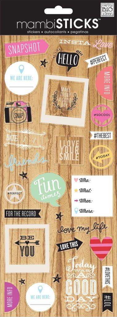 Each x clear sticker package contains sayings and icons that are perfect for adding directly on photos or to any papercrafting project