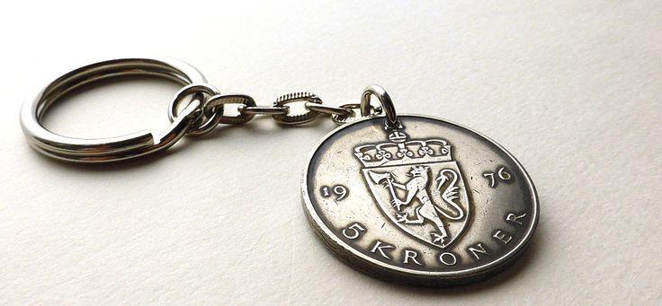 Keychain, Norway, Coin keychain, Vintage keychain, Coin charm, Men's gift, Scandinavian, Men's accessory, Coins, Charms, Accessories, 1976 by CoinStories on Etsy