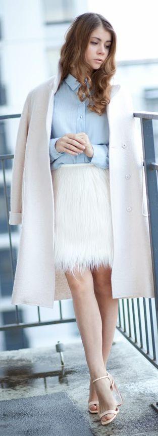 White Faux Fur Midi Skirt