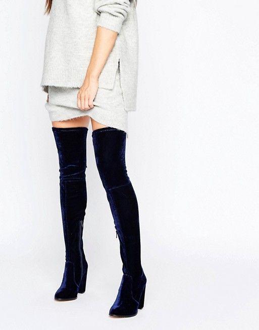 ASOS   ASOS KINGDOM Velvet Heeled Over The Knee Boots