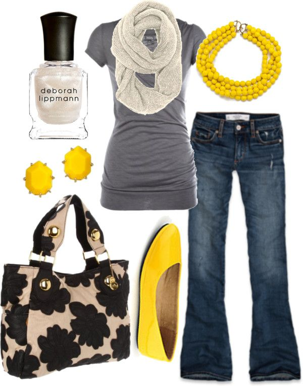 Love it!: Yellow Flats, Color Combos, Pop Of Color, Grey Yellow, Yellow Shoes, Yellow Accent, Spring Outfit, Gray Yellow, Yellow Accessories