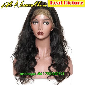 180% Density Glueless Lace Front Human Hair Wig 20 inches 7A Brazilian Body Wave Wavy Human Hair Ponytail Wig