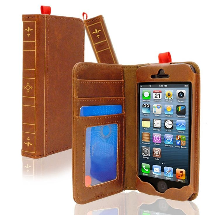 Amazon.com: KHOMO ® Brown Book Style Leather Case for Apple iPhone 5 / 5s: Cell Phones & Accessories