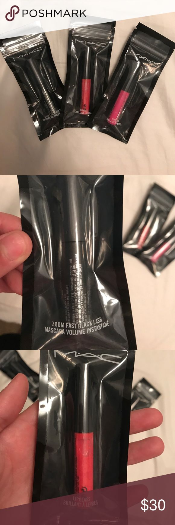 "MAC Sample Bundle 2 Lipglass samples in ""Short & Snappy"" & ""Candy Yum Yum"" & 1 Zoom Fast Black Lash mascara sample MAC Cosmetics Makeup"