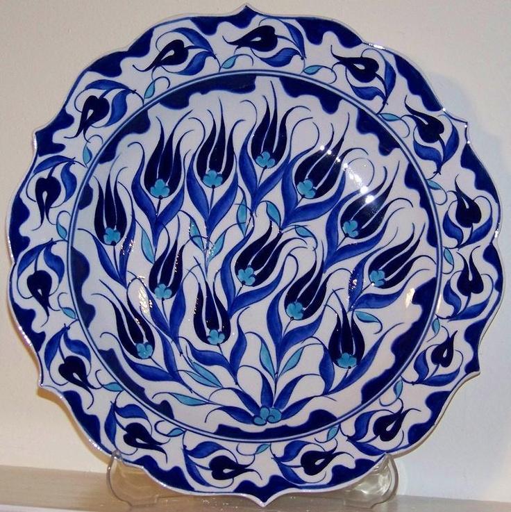 Handmade Turkish Iznik Floral Ceramic Plate