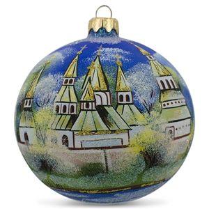 Winter Church Scene Glass Ball Religious Christmas Ornament Holiday Gift Idea