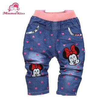 Весна знаки в форме сердца печать девочки-младенцы брюки брюки для 1 2 3 года старый младенцы джинсы B093