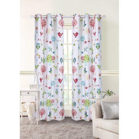 Mainstays Grommet Room Darkening Woodland Girl's Bedroom Curtain Panel, Multicolor