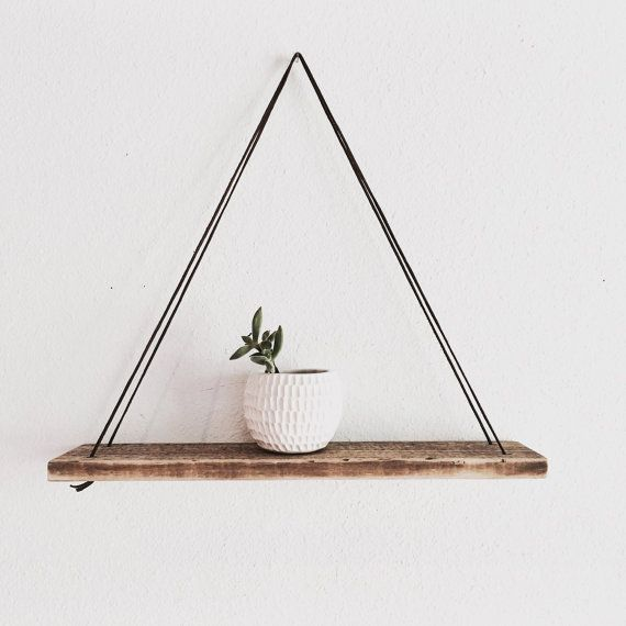 Wood Swing Shelf - Leather and Reclaimed Wood Measurements and Details: Shelf:16 long, 3 3/4 wide, 1 thick Hangs 15 Inches down from hanger