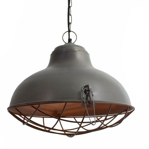 kalalou raw metal bell pendant lamp with rustic cage get that industrial chic lighting design your crave with the kalalou raw metal bell pendant lamp with