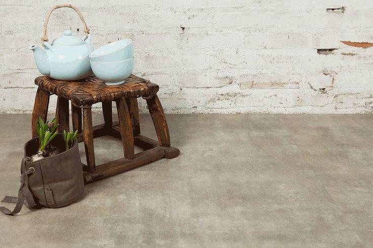 Vloer met betonlook - pvc vloer van Vivafloors verlijmd en geschikt voor vloerverwarming