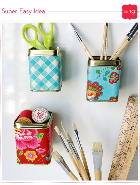 Idea - Take an empty tea tin, mod podge some craft paper around it. Hot glue a good magnet & wah-lah! /LL