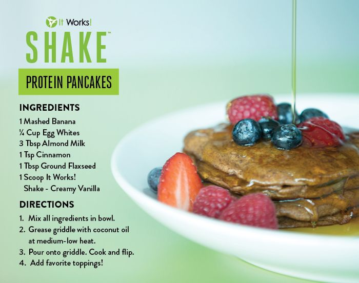 Protein packed pancakes are delish & will help sustain your Sunday! #Protein #Pancakes