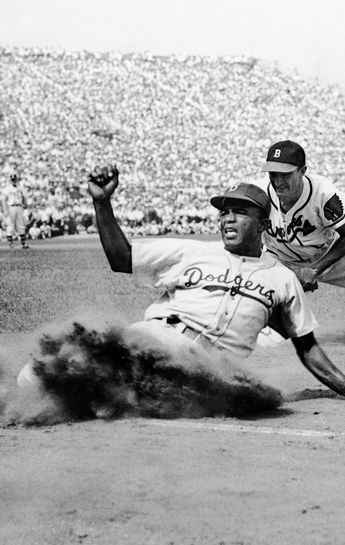 "April 15, 1947 Jackie Robinson broke the color barrier in Major League Baseball. Unfortunately this day didn't change people's attitudes & he still had to endure immense racism from businesses, ""fans"", and fellow players as well; and he did it all with grace. Happy Jackie Robinson Day."