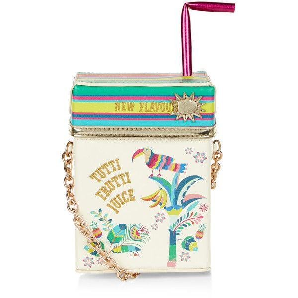 Accessorize Tropical Juice Carton Across Body Bag ($59) ❤ liked on Polyvore featuring bags, handbags, shoulder bags, white handbags, striped handbag, white crossbody, shoulder strap bag and crossbody handbags