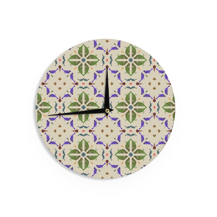 Kess InHouse Laura Nicholson 'Kissing Budgies' Geometric Beige Wall Clock